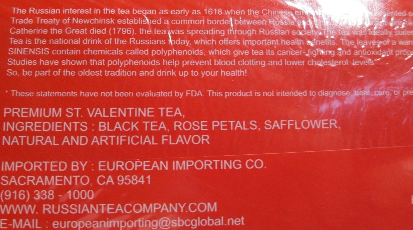 Black Pure Ceylon Tea with Rose Petals and Safflower ''St.Valentine Czar Nikolas II'' 100 Pack by Russian Tea
