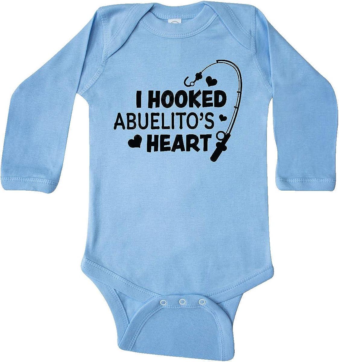 inktastic I Hooked Abuelitos Heart with Fishing Rod Long Sleeve Creeper