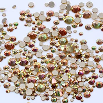 Amazon.com   Metallic Shine SS3-SS20 And Mix Sizes Super Glitter Non Hotfix  Flatback Glass Gold Foiled Rhinestones DIY 3D Nail Art Stones Decoration  gems ... 36d8642814f0