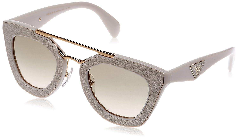326dfb7d1554 Prada Women s PR 14SS Sunglasses Ivory Light Brown Grad Light Green 49mm at  Amazon Women s Clothing store