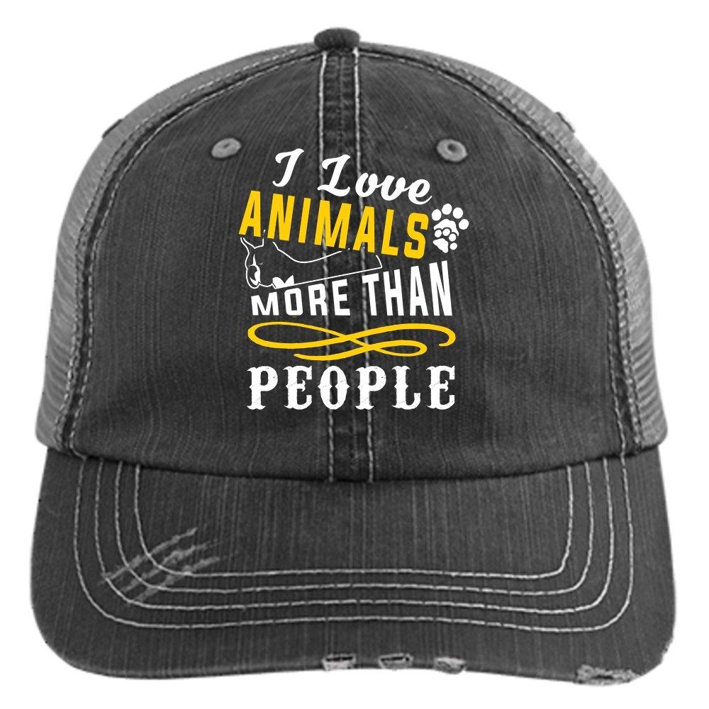 I Love Animals Knit Cap, More Than People Hat (Trucker Cap - Black)