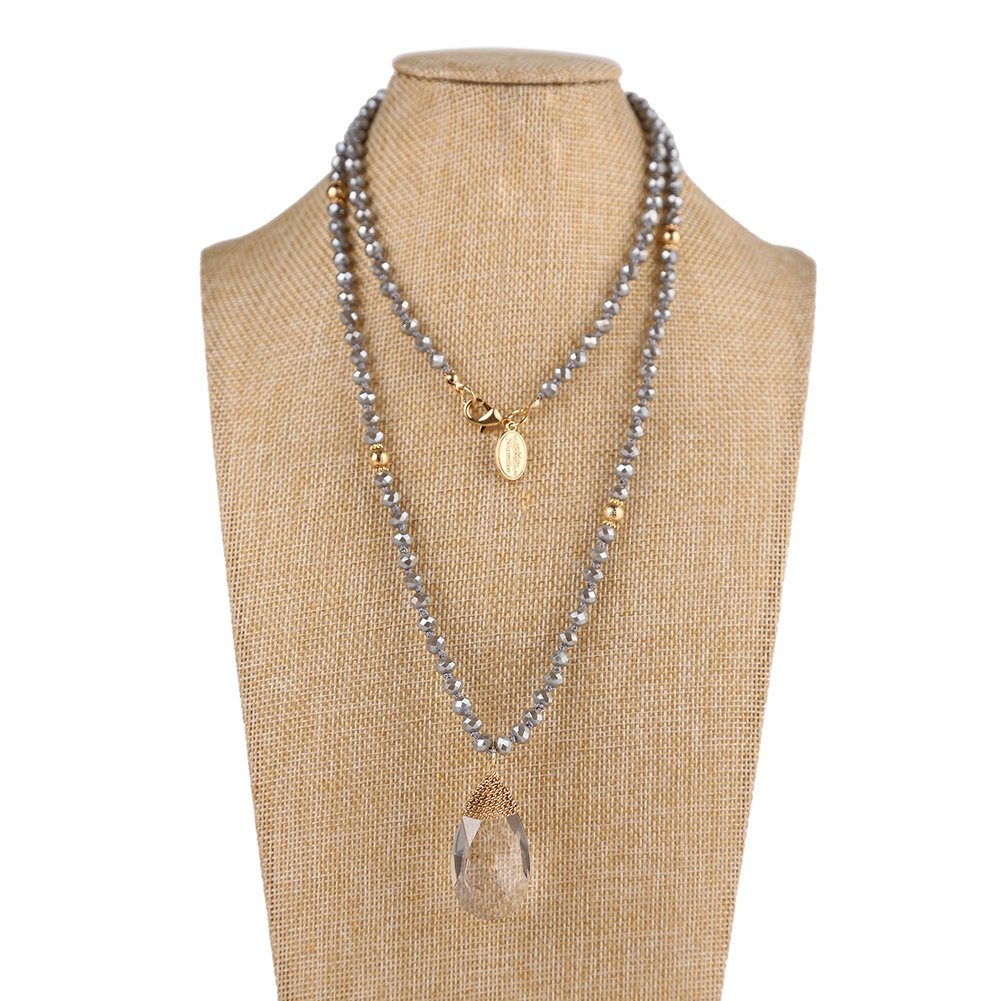 Niumike Crystal Beads Long Necklaces With Statement Transparent Pendant,100% Hand Braided Necklace,Free Flannel Bag (Grey)