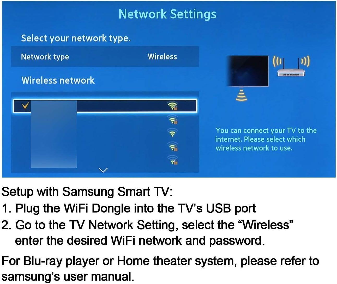 ZUKABMW - Adaptador WiFi USB Compatible con Samsung TV, 802.11ac ...