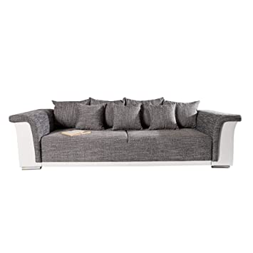 Design Big Xl Sofa Bellina Hellgrau Strukturstoff Weiss
