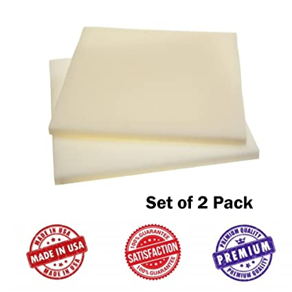 Upholstery Foam Square Seat Cushion Sheets   Two Pack   Premium Luxury  Quality (1/