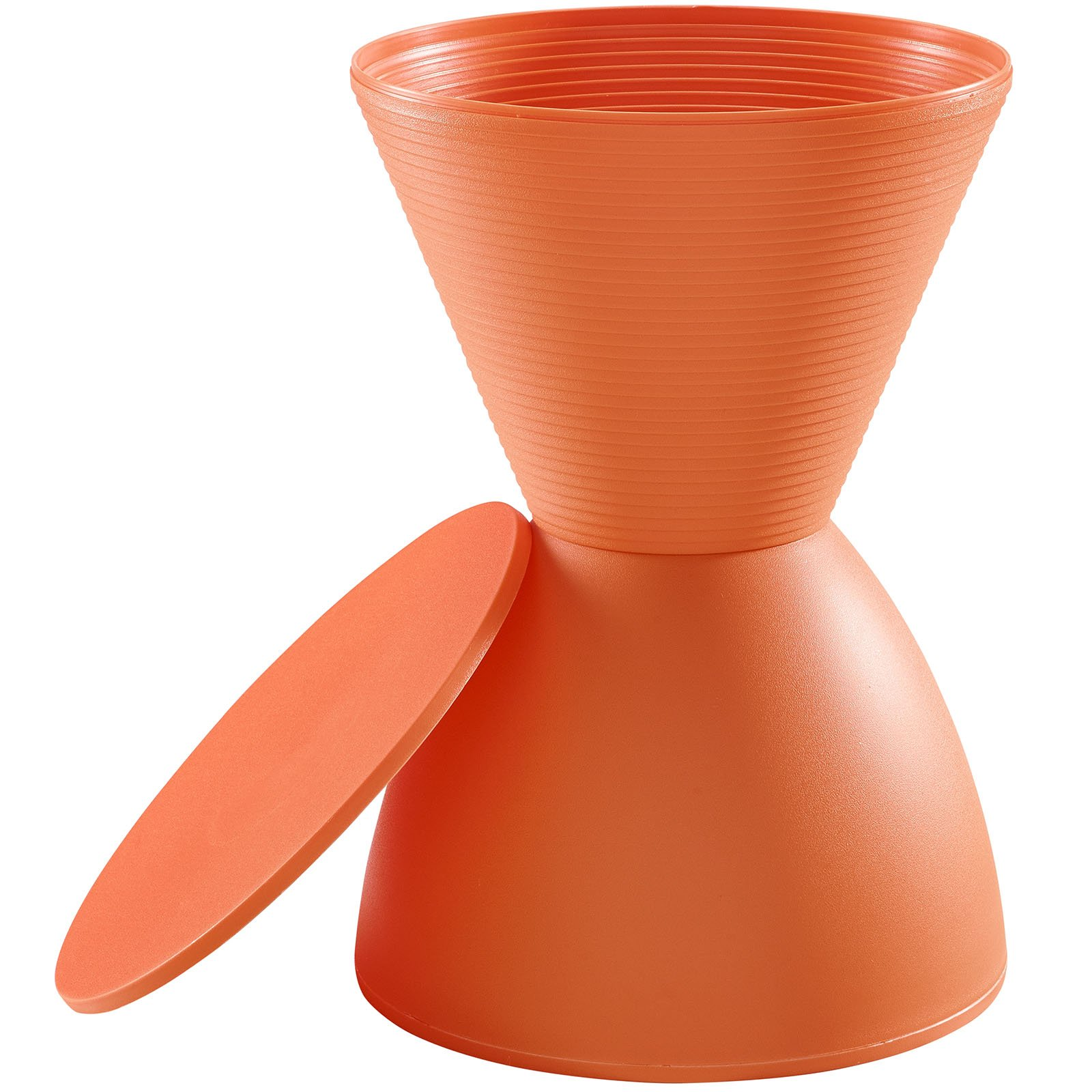 Modway Haste Contemporary Modern Hourglass Accent Stool in Orange