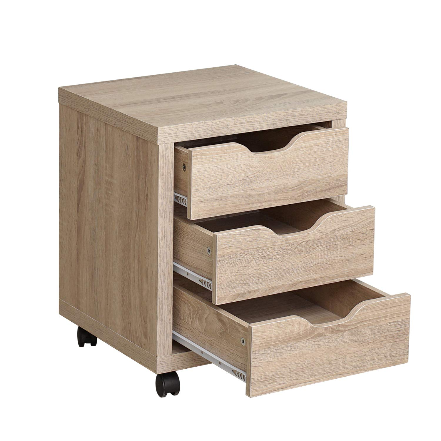 DlandHome Storage Cabinet, Vertical Lateral File Cabinet W/ 3 Drawers & Wheels, Wooden Bedroom Side Organizer for Home Office, LHGZ204-M Maple, 1 Pack by DlandHome (Image #7)