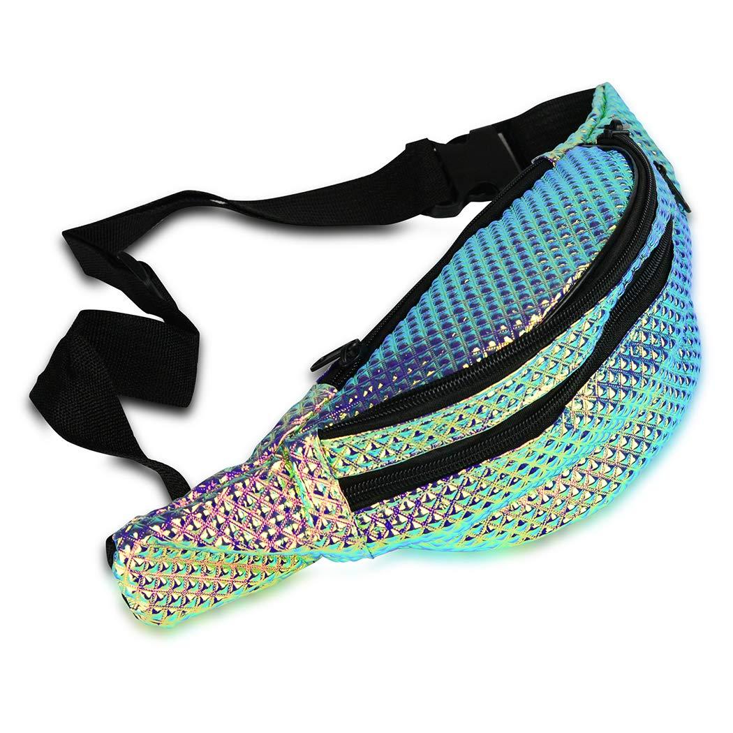 97e05eba01ae FACE1ST Multicolored Hologram Waist Iridescent Bum Bag Mermaid ...