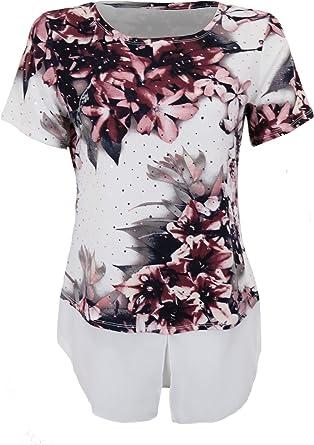 Zafiro Boutique Manga Corta para Mujer Lentejuelas Pedrería Gasa Floral Capas 2 en 1 Top Camisa Blusa: Amazon.es: Ropa y accesorios