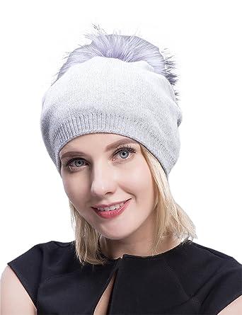 bc84d4c7ec8 Image Unavailable. Image not available for. Color  MS.MinShu Cashmere Hats  Pompom Beanies Fur Hat Female Warm Caps ...