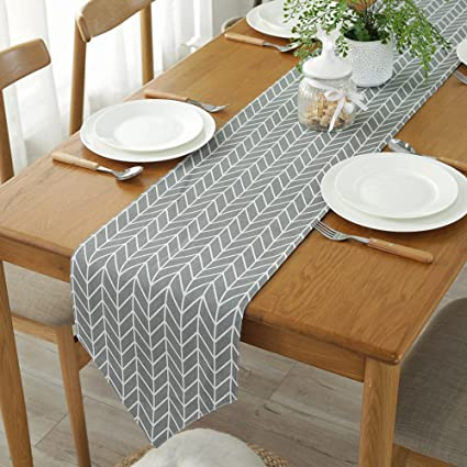 ColorBird Gray Arrow Table Runner Cotton Linen Runners for Kitchen Dining  Living Room Table Linen Decor (12 x 70 Inch, Gray)