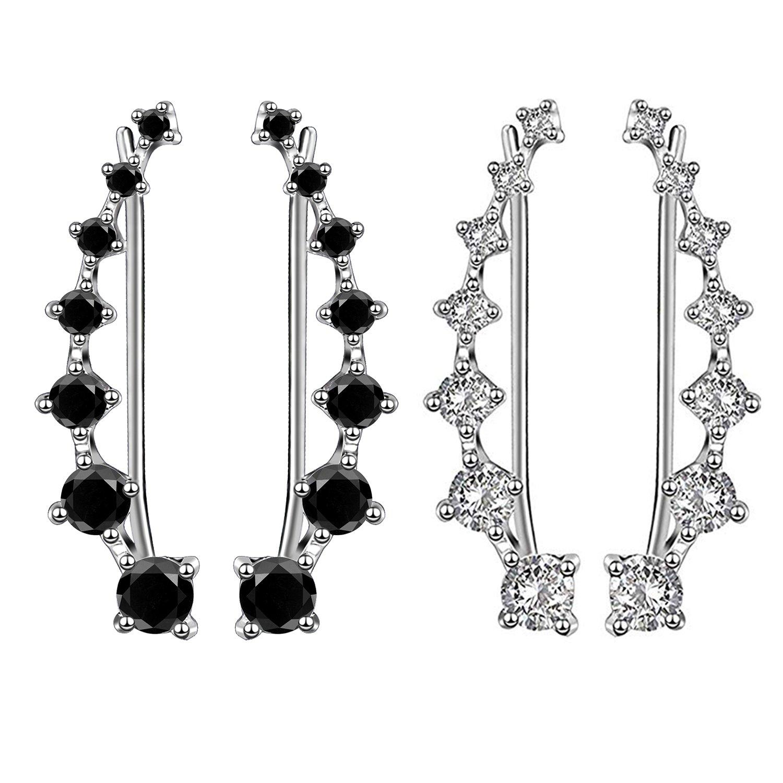 2 Pcs 7 Crystals Ear Cuffs Hoop Climber S925 Sterling Silver Earrings Hypoallergenic Earring