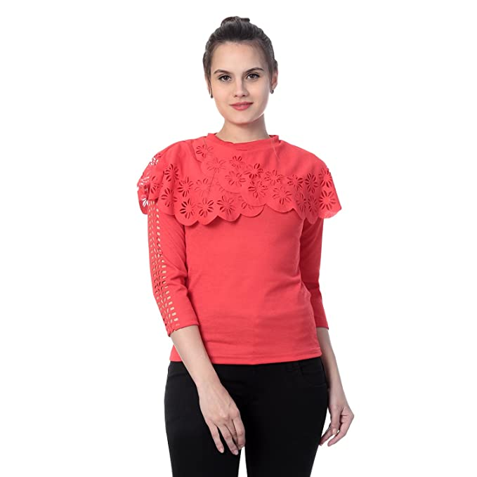 f9725c24a DIMPY GARMENTS Women s Crepe Flower Design Top  Amazon.in  Clothing    Accessories
