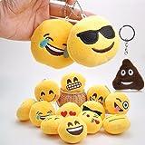 Jiada Round Emoji Face Plush Soft Cushion Keychain Return Gifts - Pack of 12