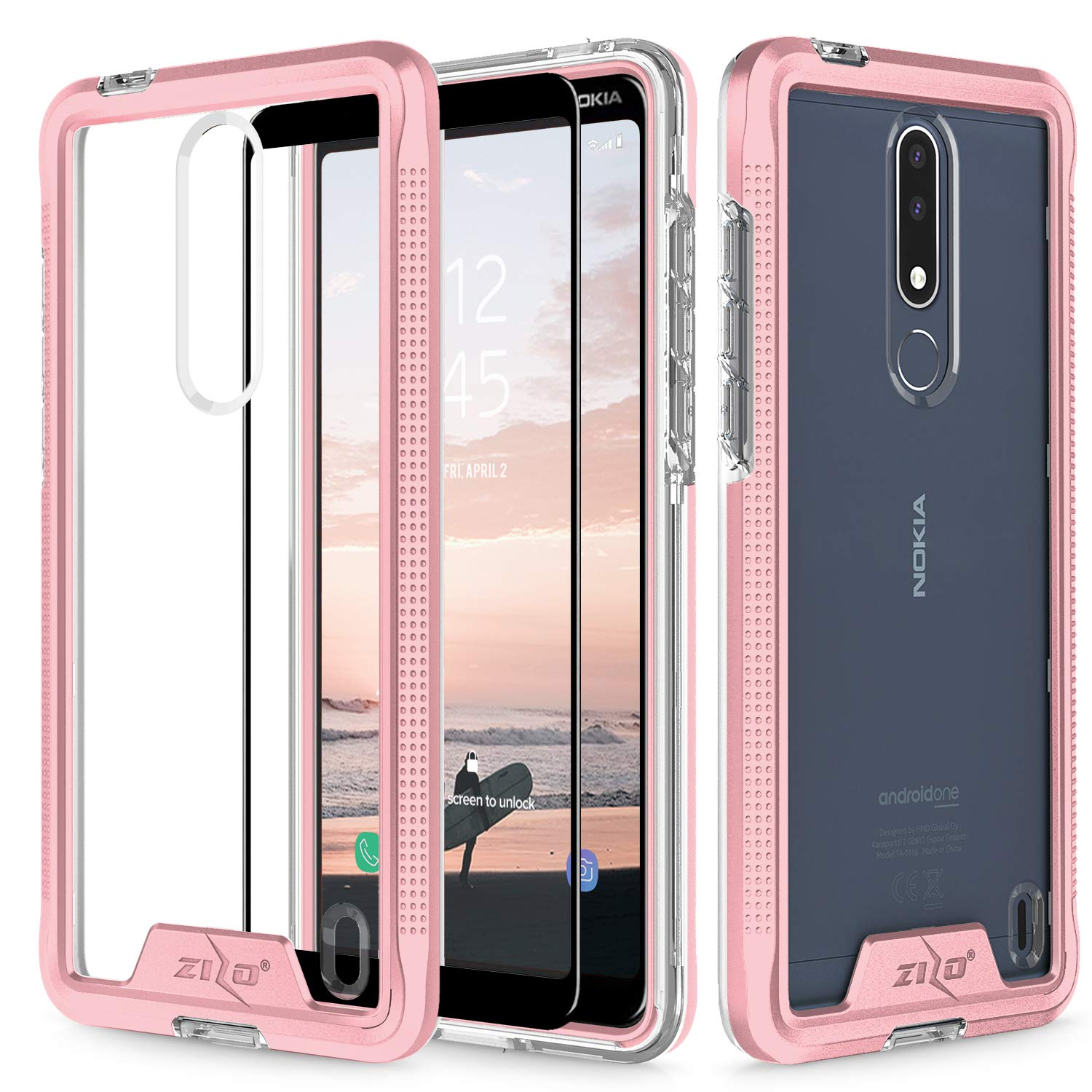 wholesale dealer 483fc dc308 Zizo Ion Series Compatible with Nokia 3.1 Plus Case Military Grade Drop  Tested with Tempered Glass Screen Protector Rose Gold Clear