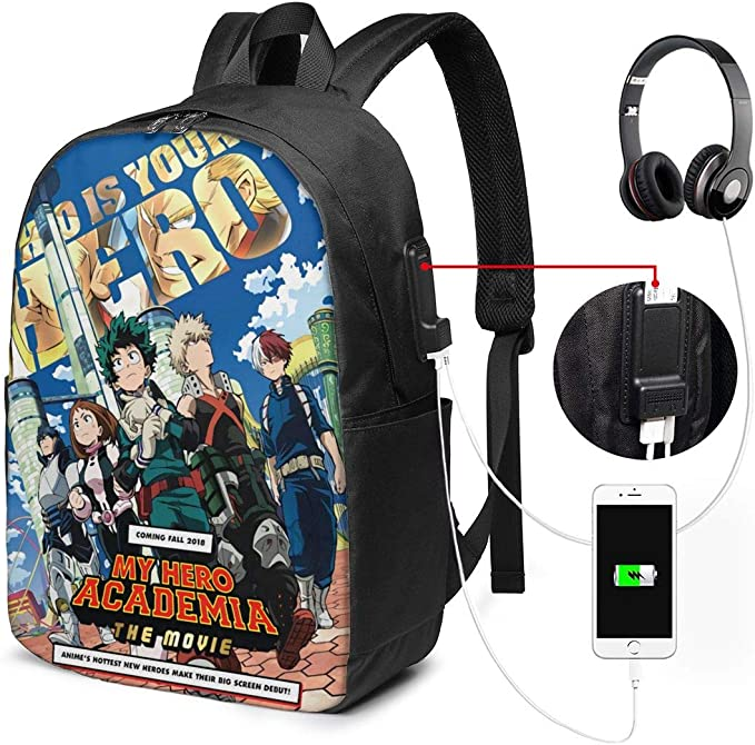My Hero Academia Deku Bakugo Todoroki All Might Electronic Accessories USB Cable Organizer Storage Pack Bag Travel Cases Houseware Bags for Charging Cable,Cellphone,Power Bank,Earphone Charger Phone
