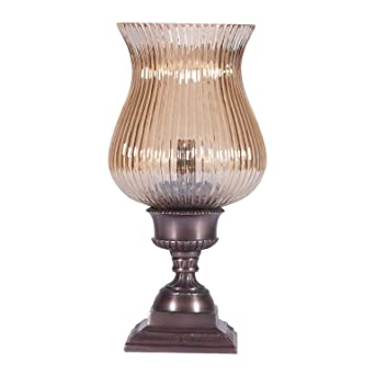 Small Glass Shaded Torchiere Accent Table Lamp