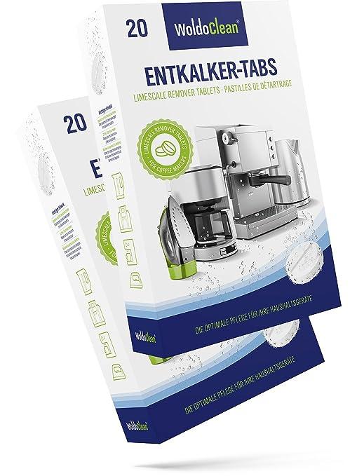 Descalcificador Cafetera Pastillas de descalcificación - 40x 16g Tabletas para máquina de café, Compatible con