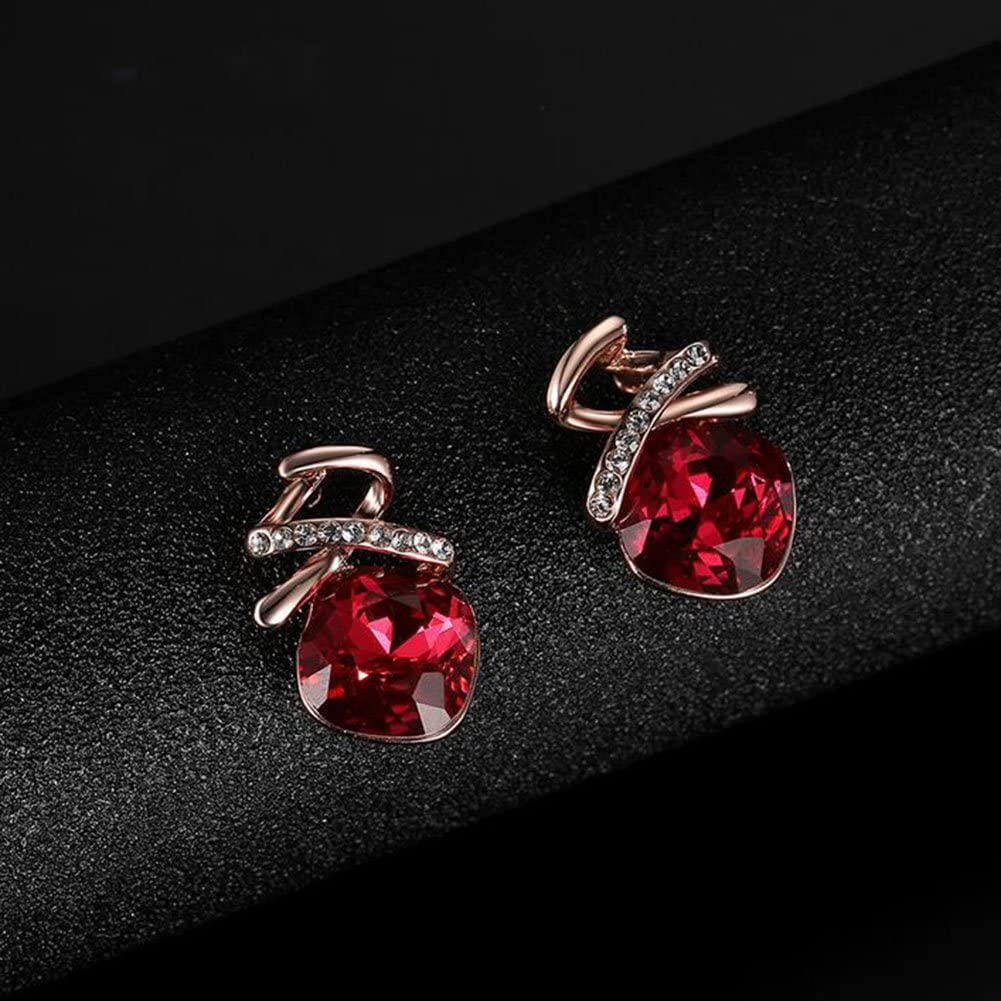 Rose Gold MSYOU Jewellery Set Alloy Red Zircon Pendant Necklace Earrings Set Jewelry Gift for Women Girl Mother Wife Daughter Friend Her