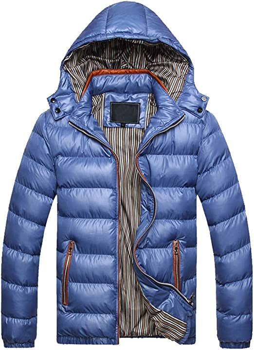 Qinni-shop Mens Winter Thicken Cotton Coat Puffer Jacket with Removable Hood