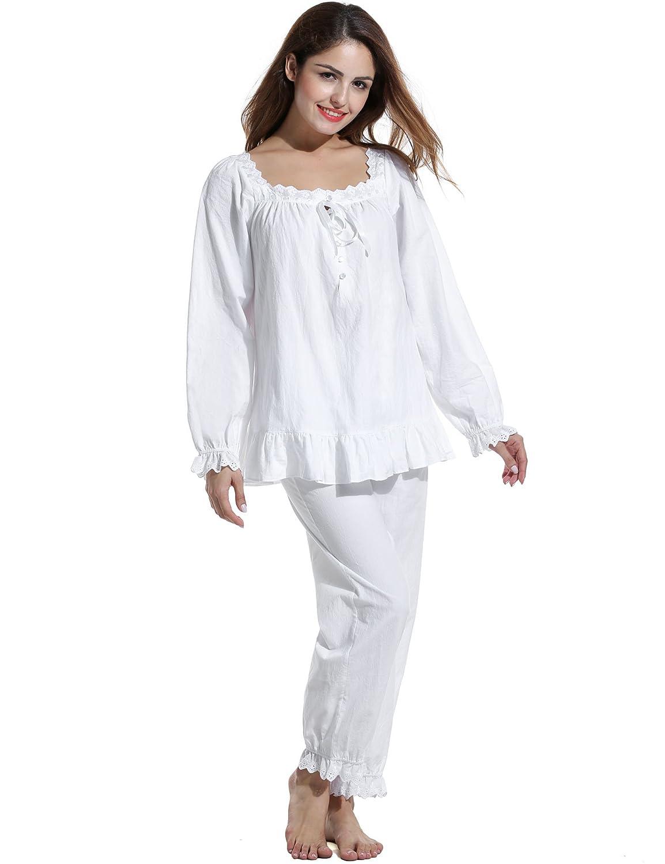 Avidlove Damen Vintage Nachtwäsche Schlafanzüge Pyjamas Set Baumwollmischung Britisch Langarm-Fest