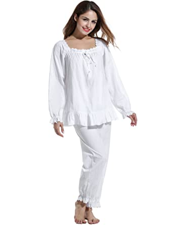 e52d30820f Avidlove Womens Cotton Pjs Victorian Vintage Long Sleeve Pajama Set  Sleepwear  Amazon.co.uk  Clothing