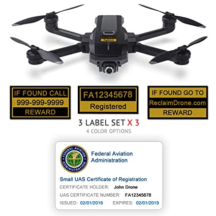 Yuneec Mantis Q - FAA Drone Identification Bundle - Labels (3 Sets of 3) +  FAA UAS Registration ID Card for Hobbyist Pilots