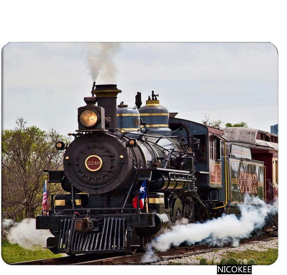 NICOKEE Train Rectangle Gaming Mousepad Steam Train Running Carrier Mouse Pad Mouse Mat for Computer Desk Laptop Office 9.5 X 7.9 Inch Non-Slip Rubber
