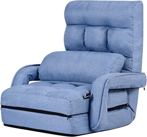 Casart 2 In 1 Folding Sofa Bed With Pillow For Single Sleep 5 Positions Adjustable Armchair Floor Sofa Bedroom Living Room Office Furniture Blue Amazon Co Uk Kitchen Home