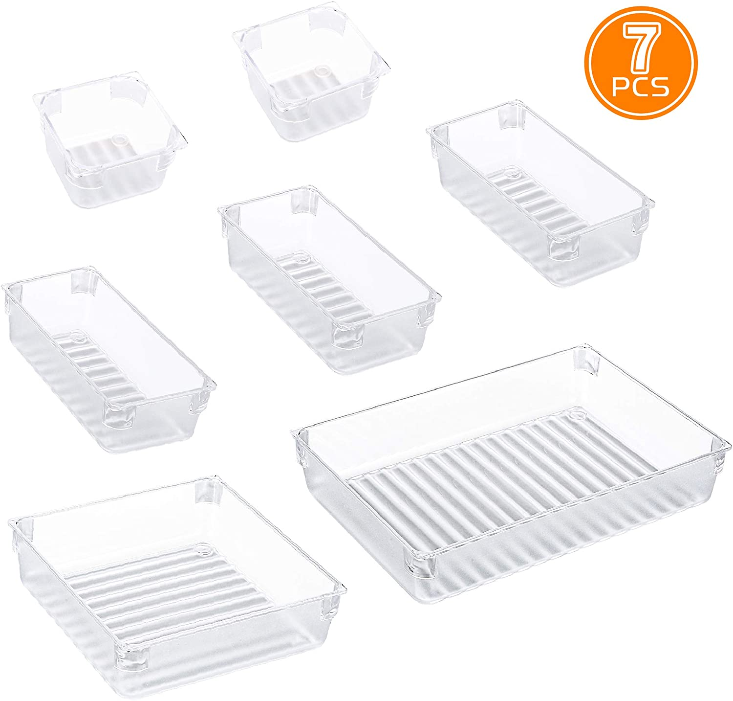 IPOW 7-Piece Desk Drawer Organizer Trays with 4 Different Sizes Clear Plastic Drawer Dividers Organizer Bins for Bedroom Dresser Bathroom Kitchen Office