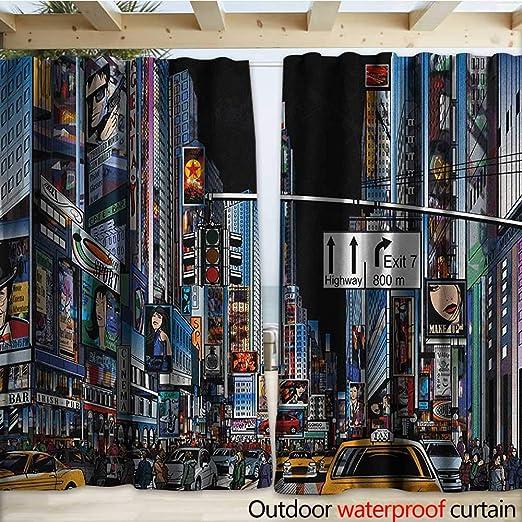 warmfamily City - Cortinas Impermeables para Puerta corredera, Estilo de Dibujos Animados, Escena de Noche de Nueva York, Publicidad de Calles Recortadas, Taxis, Salida de autopista, 108 x 96 cm: Amazon.es: Jardín