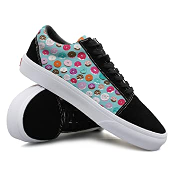 Colorful Donuts And Home Baked Candy Goods Sugar Candy Women Casual Sneakers Canvas Classic Cute Trainers