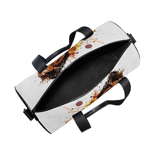 e48363c85e6d Amazon.com   OuLian Gym Bag Watercolor Horse Women Yoga Canvas Duffel Bag  Cute Sports Bag for Girls   Sports   Outdoors