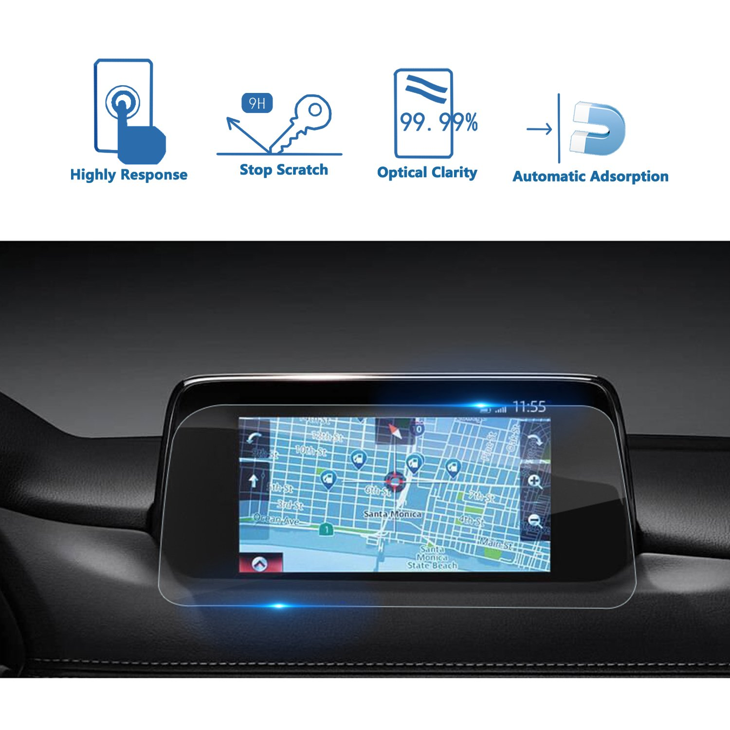 LFOTPP Mazda CX-5 2017 2018 7 Inch MZD CONNECT Car Navigation Screen Protector, [9H] Tempered Glass Infotainment In-Dash Center Touch Screen Protector Anti Scratch High Clarity