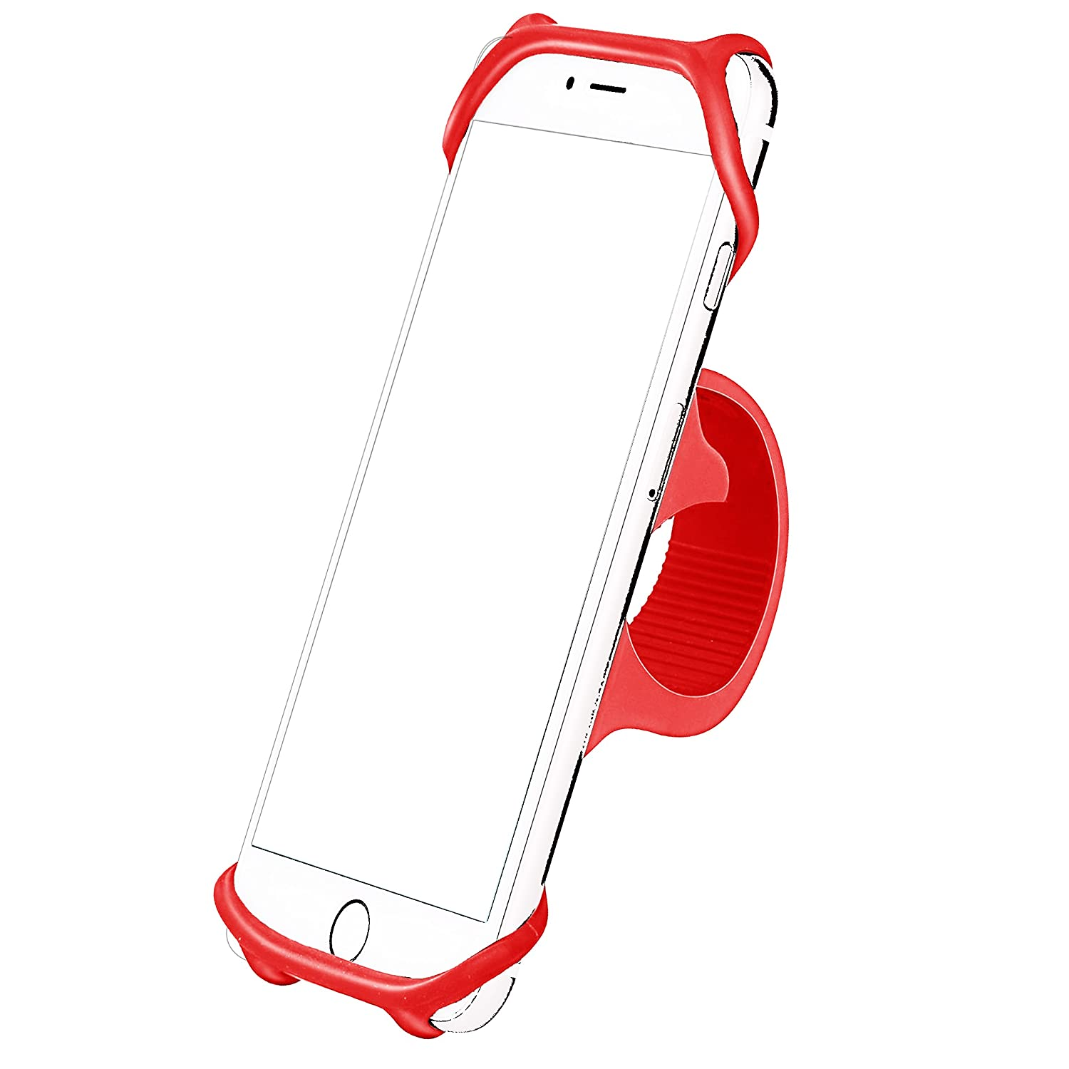 AILUN Bike Silicone Strap Mount Holder,Motorcycle by Phone Mount by for iPhone X/8Plus/8/7Plus/7/6S,Samsung Galaxy S9/S9+,S8+/S8/S7/S6,LG HTC and all 4-6 Inch Smartphones[Yellow] Siania