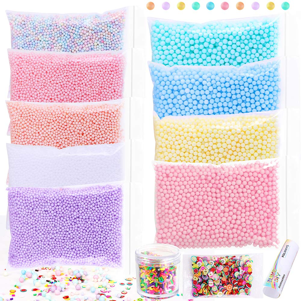 POLMMYS Foam Beads for Slime and Soft Clay, including Chocolate Pieces, Fruit Slices for DIY Slime Making, Homemade Art Craft, Girl Slime Party (11 Pack)