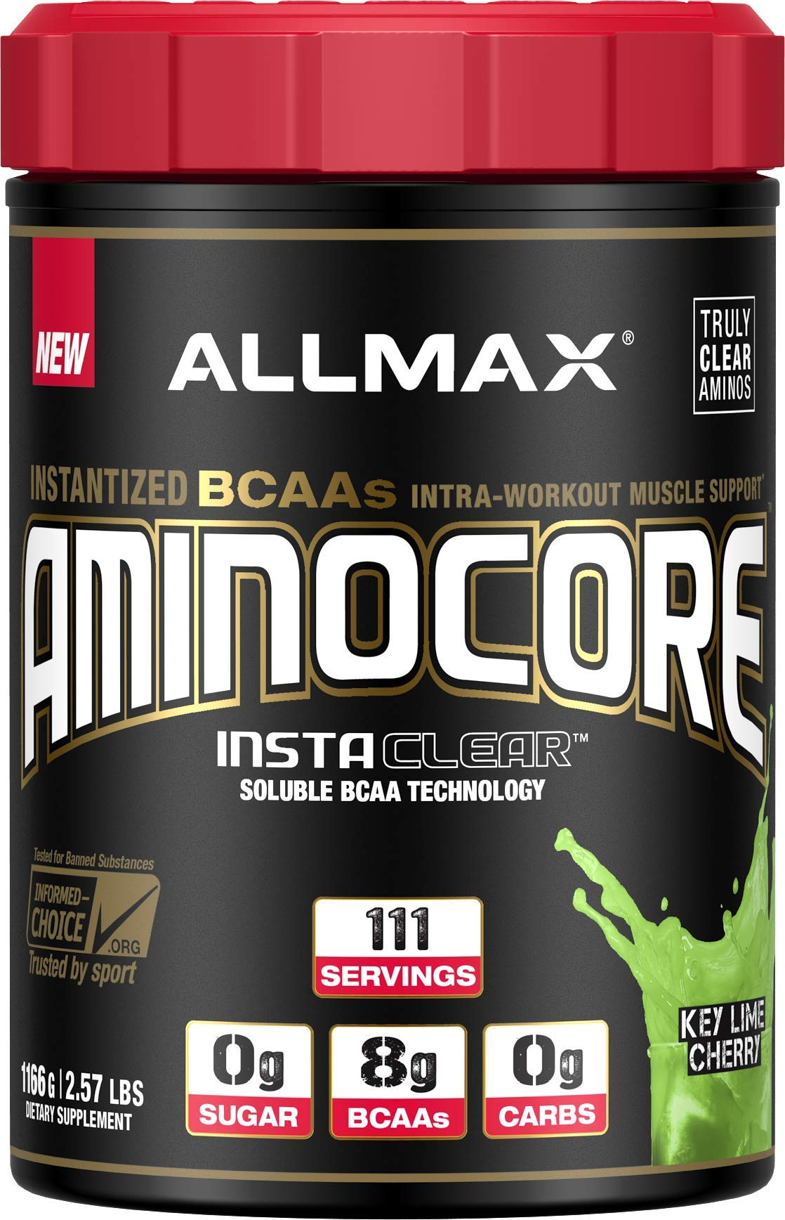 ALLMAX Nutrition Aminocore BCAAs, 100% Pure 45:30:25 Ratio, Key Lime Cherry, 1166 g