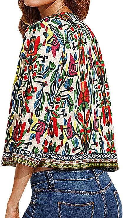 US/&R Women No Closure Round Neck 3//4 Sleeve Colorful Ethnic Print Mini Jacket