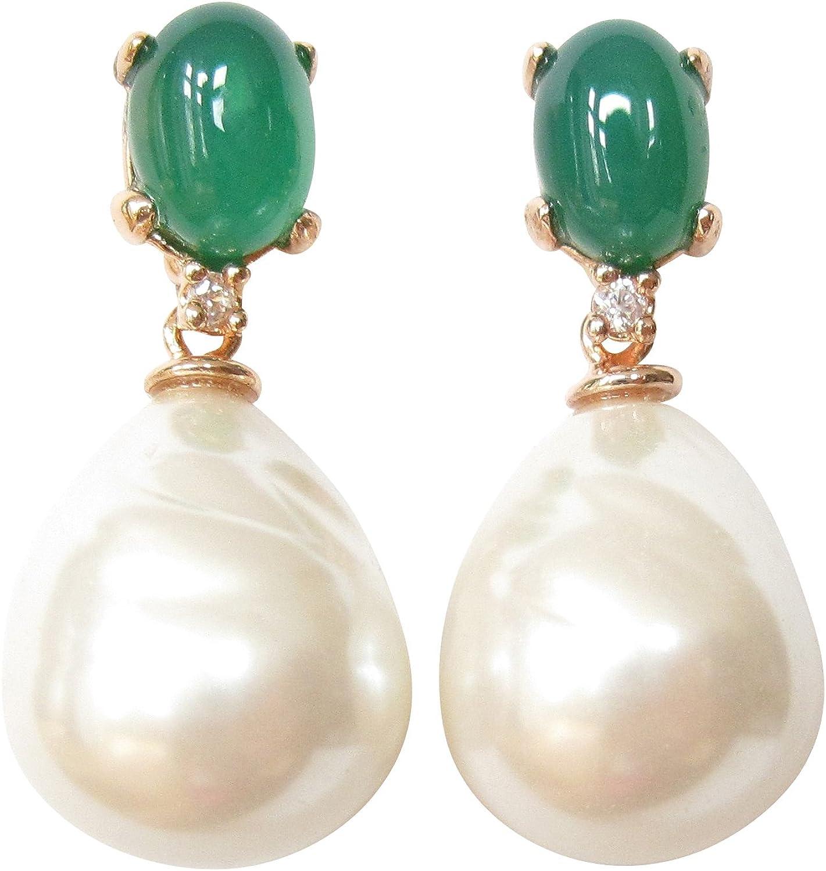 Pendientes verdes de piedra de color esmeralda con perlas de cristal barroco de color blanco, plata de ley chapada en oro rojo de 18 quilates, hechos a mano en Italia