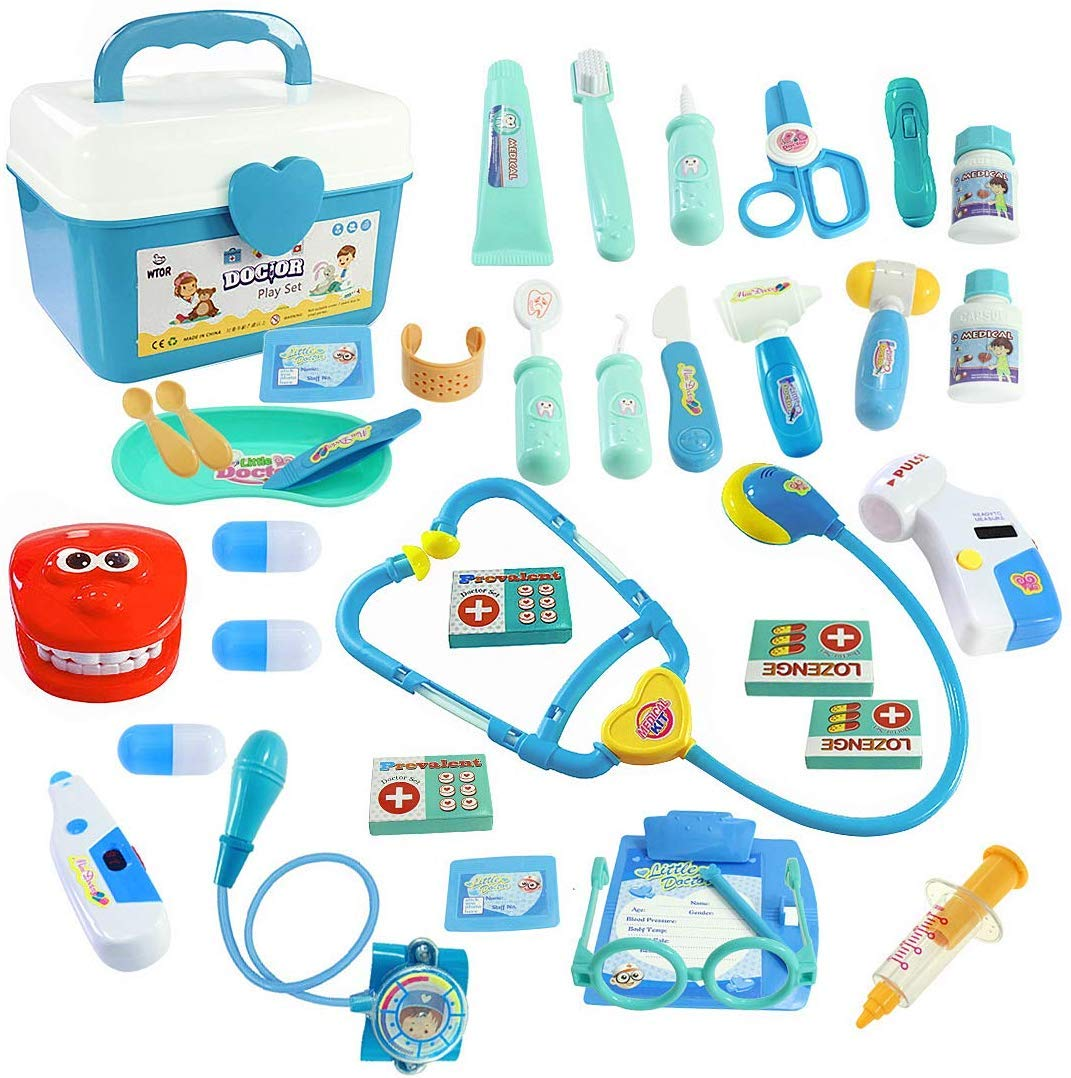 WTOR Toy 36Pcs Doctor Kit Pretend Play Doctor Set Toys Medical Kit for Toddler Boys Girls Children's Birthday School Classroom and Doctor Role Play by WTOR
