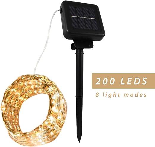 Guirnalda luces exterior solar. Luces exterior solares led. Luces led útiles para decoración de exterior, jardín, hogar, bodas, fiestas, Navidad, etc. Tira de luces led de 22 metros y 200 Leds.: Amazon.es: