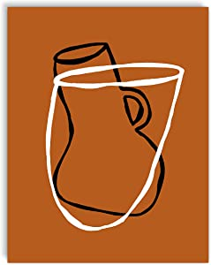Printsmo, Bowl and Vase, Minimalist Modern Abstract Art Print Poster, Contemporary Wall Art for Home Decor 11x14 inches, Unframed (Rust)