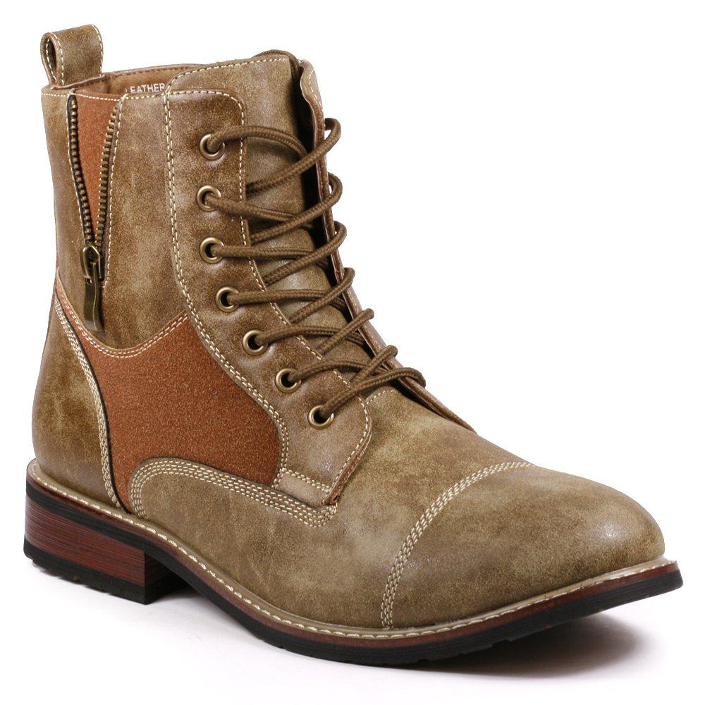 Metrocharm MET525-10 Men's Lace Up Cap Toe Military Combat Work Desert Ankle Boots (11, Brown)
