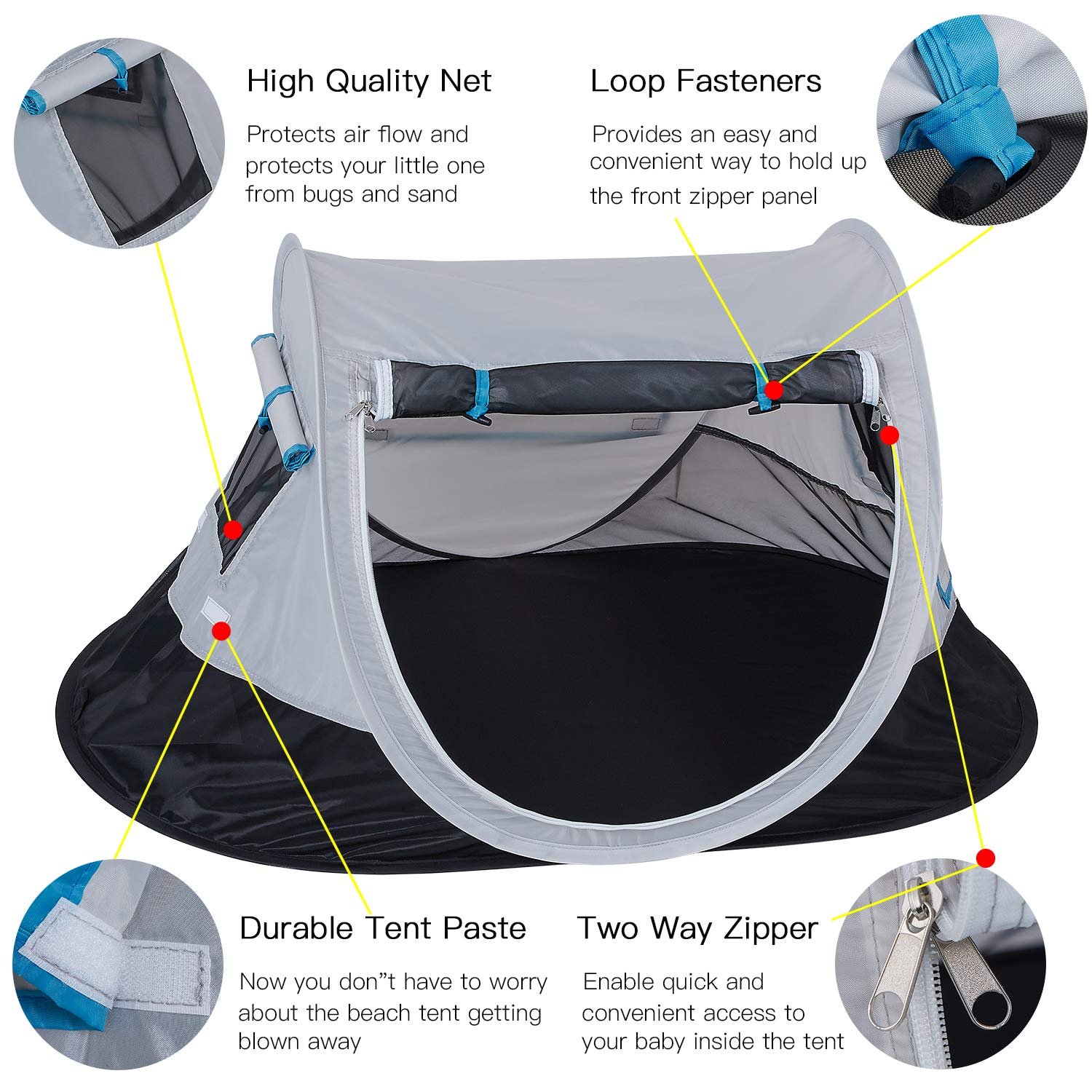 SHDIBA Portable Travel Pop up Baby Tent, Large Beach Sun Shelter Infant Tent, UPF 50+, Baby Sleep Outdoor Camping Mosquito Tent by SHDIBA (Image #2)