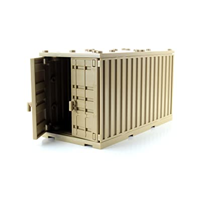 Dark Tan Cargo Shipping Container Compatible with Toy Brick Minifigures: Toys & Games
