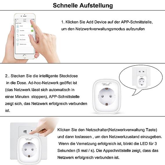 Intelligent Messen Steckdose ,Wuudi WLAN Smart Plug Steuerung Ihrer ...