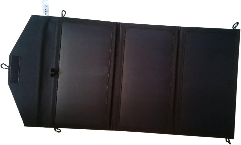 GGX ENERGY Sunpower 21 Watt Portable Folding Solar Panel Charger for iPad/Tablets/Mobile Phones/Smart Phones/iPhone 5/6/6 Plus 2xUSB Out (Black)
