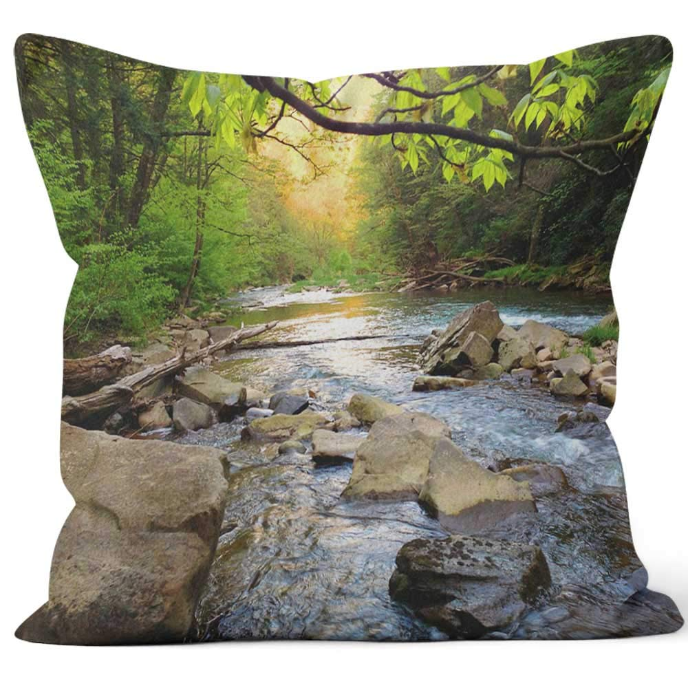 """Nine City Mountain Trout Stream in Pennsylvania Throw Pillow Cushion Cover,HD Printing Decorative Square Accent Pillow Case,36"""" W by 36"""" L"""