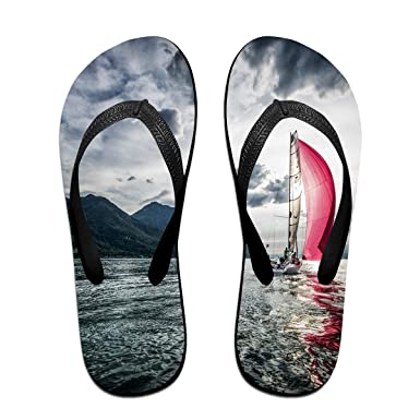 0bd323c15c80 Couple Slipper Sailboat Sailing Print Flip Flops Unisex Chic Sandals Rubber  Non-Slip Beach Thong