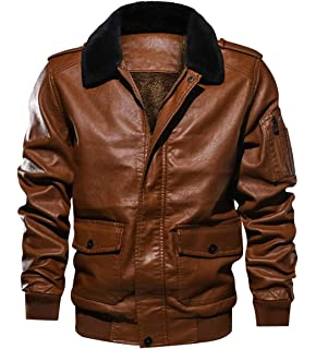 Itemnew Men Sportswear Full Zip Sherpa Lined Air-Force Faux Leather Bomber Jacket
